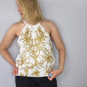 Vanessa Virginia Anthropologie embroidered halter